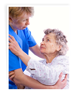 caretaker assisting her elderly patient